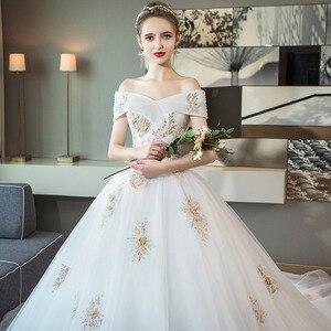 Image 3 - Tapete Cozinha/платье со звездами; Новинка 2020 года; Свадебное платье принцессы в Корейском стиле со шлейфом; Роскошное платье на плечо с тонким принтом Хепберн