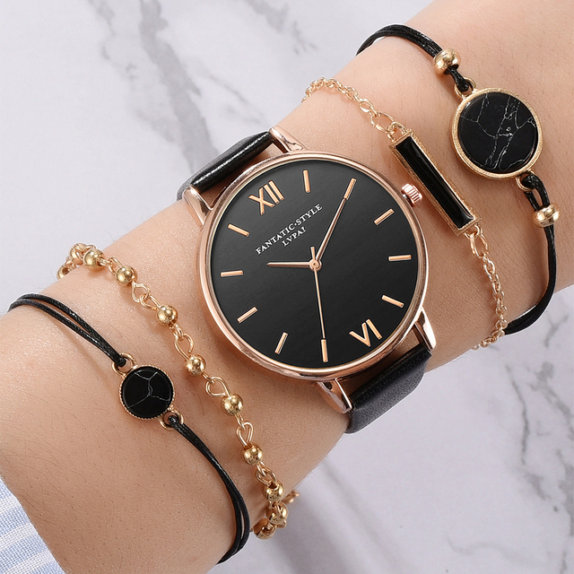 5pcs Set Top Style Fashion Women's Luxury Leather Band Analog Quartz WristWatch Ladies Watch Women Dress Reloj Mujer Black Clock 1