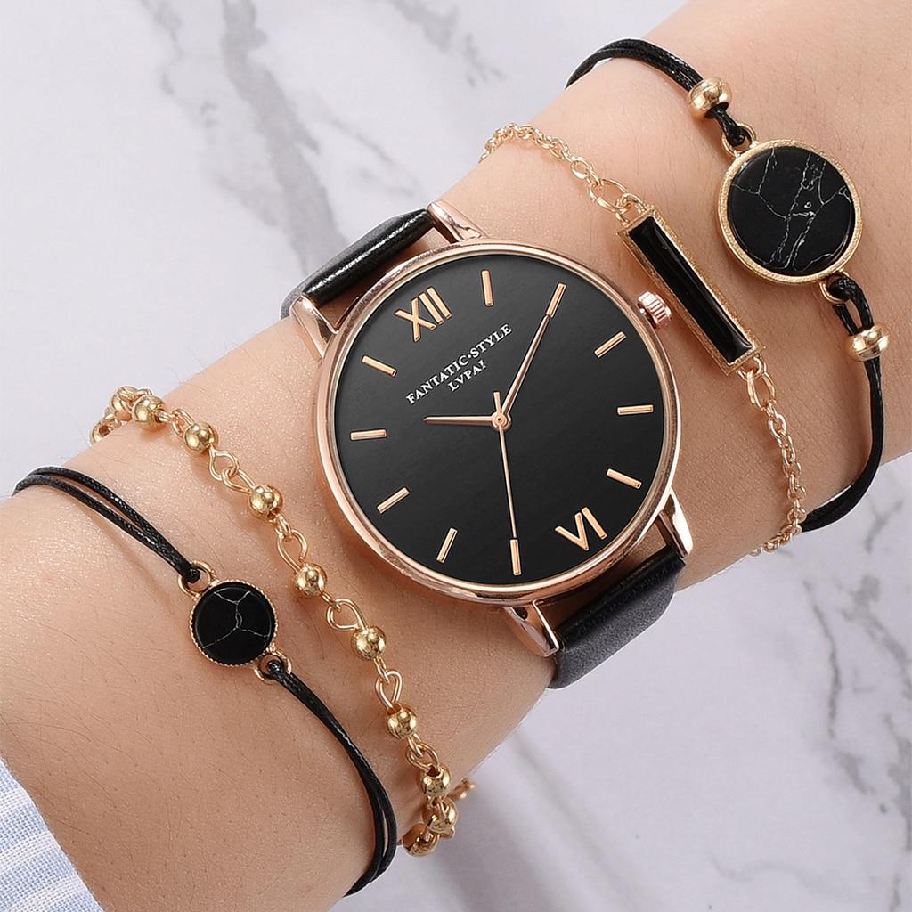 5pcs Set Top Style Fashion Women's Luxury Leather Band Analog Quartz WristWatch Ladies Watch Women Dress Reloj Mujer Black Clock(China)