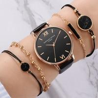 ساعة يد كوارتز سوداء للسيدات مع أساور جلدية فاخرة من Top Style Fashion, مجموعة من 5 قطع متناظرة