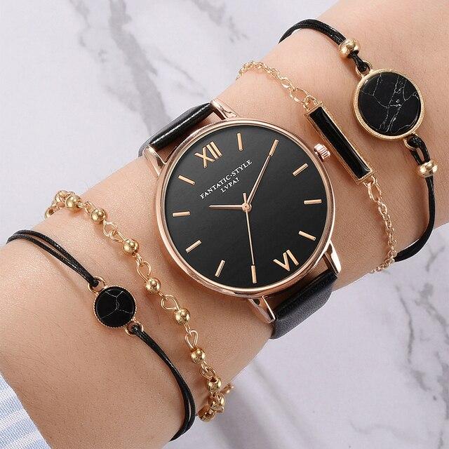 Set de 5 uds de relojes de pulsera analógicos de cuarzo de lujo con correa de cuero a la moda para Mujer, Reloj negro para Mujer