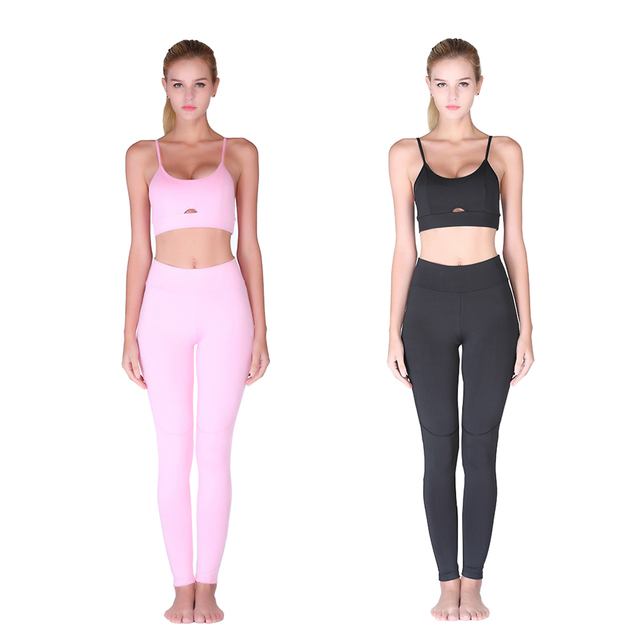 Hot Sale Pink Hollow Women Yoga Sets Elastic Gym Running Sport Suit Fitness Clothes Workout Sport Wear Sports Bra + pants Set