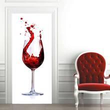 Creative environmental protection 3D red wine glass door stickers refurbished self-adhesive bedroom wall PVC stickers tanie tanio Koreański PATTERN
