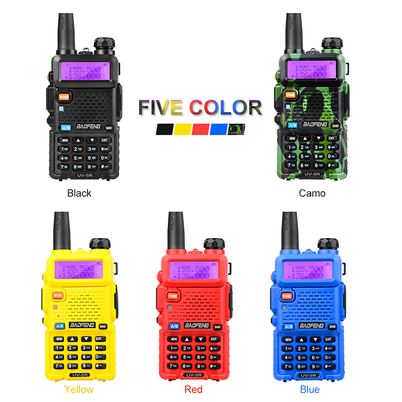2PCS Hot Portable Radio Baofeng UV-5R two way radio Walkie Talkie pofung 5W vhf uhf dual band baofeng uv 5r 2