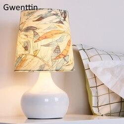 Nowoczesne drzewo tkaniny lampy stołowe do salonu Nordic Led stojak oprawy oświetleniowe sypialnia lampki nocne lampy stojące Home Art Decor