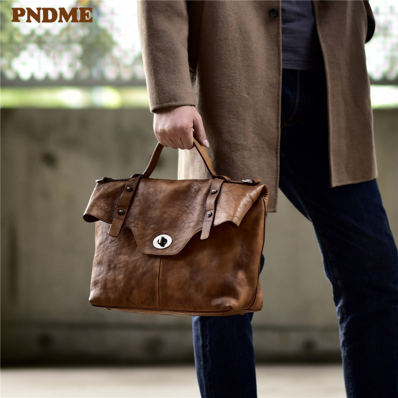 PNDME Fashion Vintage Genuine Leather Men's Women's Briefcase High Quality Luxury Soft Cowhide Designer Hand Laptop Shoulder Bag