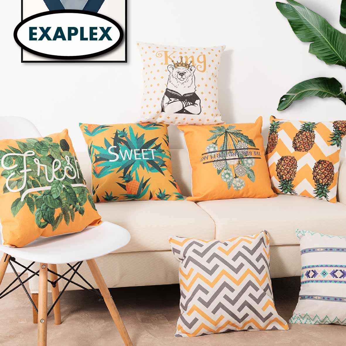 Cushion  45*45 50*50 55*55 Two Side Printed Soft Cotton Linen Blend Cartoon Stripes Tropical Plants European Style Pastora