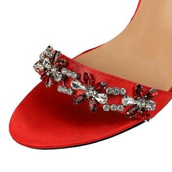 9cm High Heels Crystal Sandal Stiletto Satin Strap Heels  6