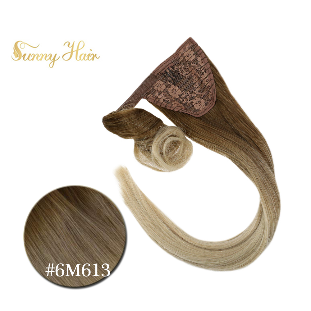 VeSunny Ponytail Extensions Wrap Around Magic Tape 100% Human Hair 80gr Balayage Ombre Light Brown Mix Light Blonde #6M613