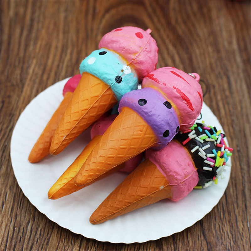 Random 1ps 10cm Soft Squeeze PU Slow Rebound Rising Stress Relief Squishy Toys Double Layers Ice Cream Mobile Phone Straps Decor
