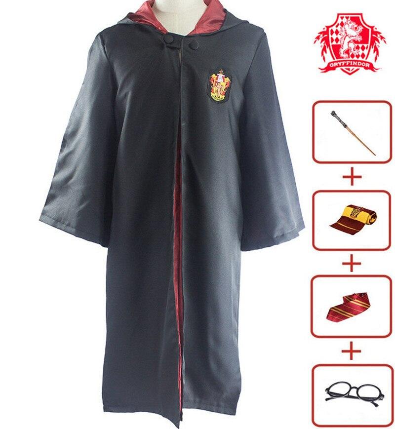 Gryffindor Magic Robe Cloak Halloween Set Hufflepach Slytherin Costume Adult Child Cosplay Costume Tie, Scarf, Magic Wand
