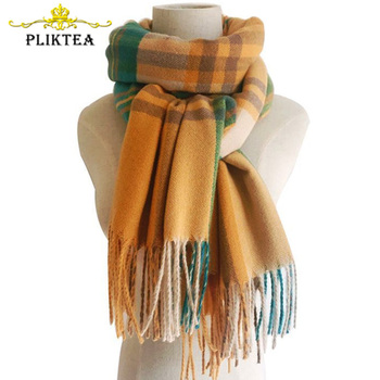 Direct sale Yellow Plaid Winter Scarf Shawl Women Wool Blends Poncho Wrap Female Tippet Stole Ladies Colorful Scarves Pashmina 1