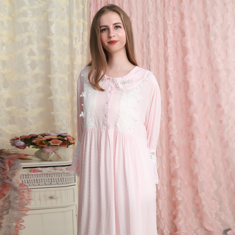 Women Nightgown Cotton Pink Sleepwear Dress Romantic fall Nightgown Ladies Loose Sweety Nightdress