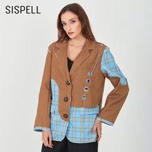 Женское клетчатое пальто блейзер sispell с металлической пряжкой