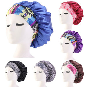Women Satin Night Beauty Salon Sleep Cap Cover Hair Bonnet Hat Silk Head Wide Elastic Band For Curly Springy Hair Chemo Cap(China)