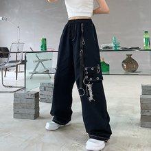 QWEEK – pantalon Cargo gothique Harajuku noir pour femme, vêtement Streetwear gothique, avec chaîne, jambes larges, style Hippie, blanc, ample, Baggy, à la mode