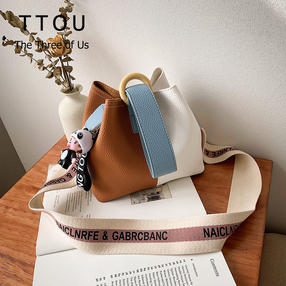 Casual Women's Bag Wooden Round Lock Handbag Patchwork Color Ladies Bucket Bag Female Travel Shopping Print Strap Shoulder Bag