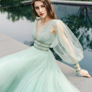 Image 3 - Verngo 2021 Korea Tulle A Line Long Prom Dress Puff Sleeve V Neck Floor Length Party Gowns Lady Formal Dress Vestido De Gala