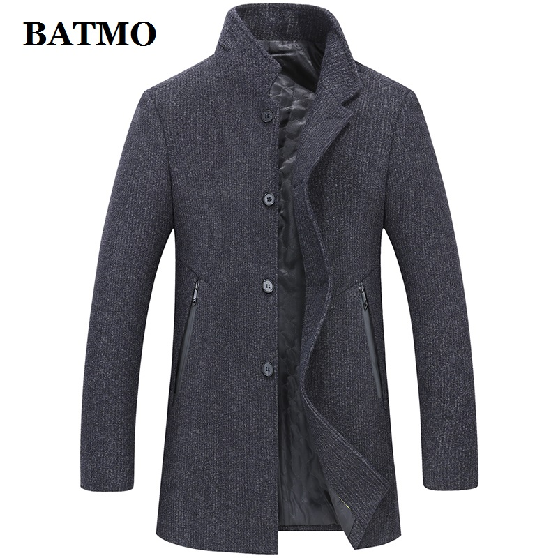 Batmo 2019 New Arrival Winter High Quality Wool Thicked Casual Trench Coat Men,men's Winter Warm Coat,winter Jackets Men 893