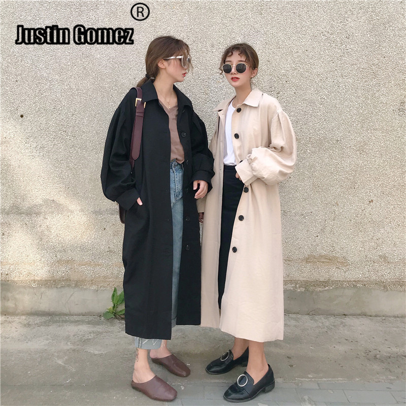 Korean Design retro Vintage Women Button Up   Trench   Coat Stylish Spring Fall High Waist Outerwear Coat