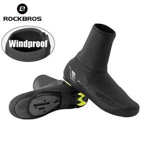 Image 1 - ROCKBROS – couvre chaussures de cyclisme, coupe vent, garde au chaud, équipement de cyclisme, vtt, route, hiver