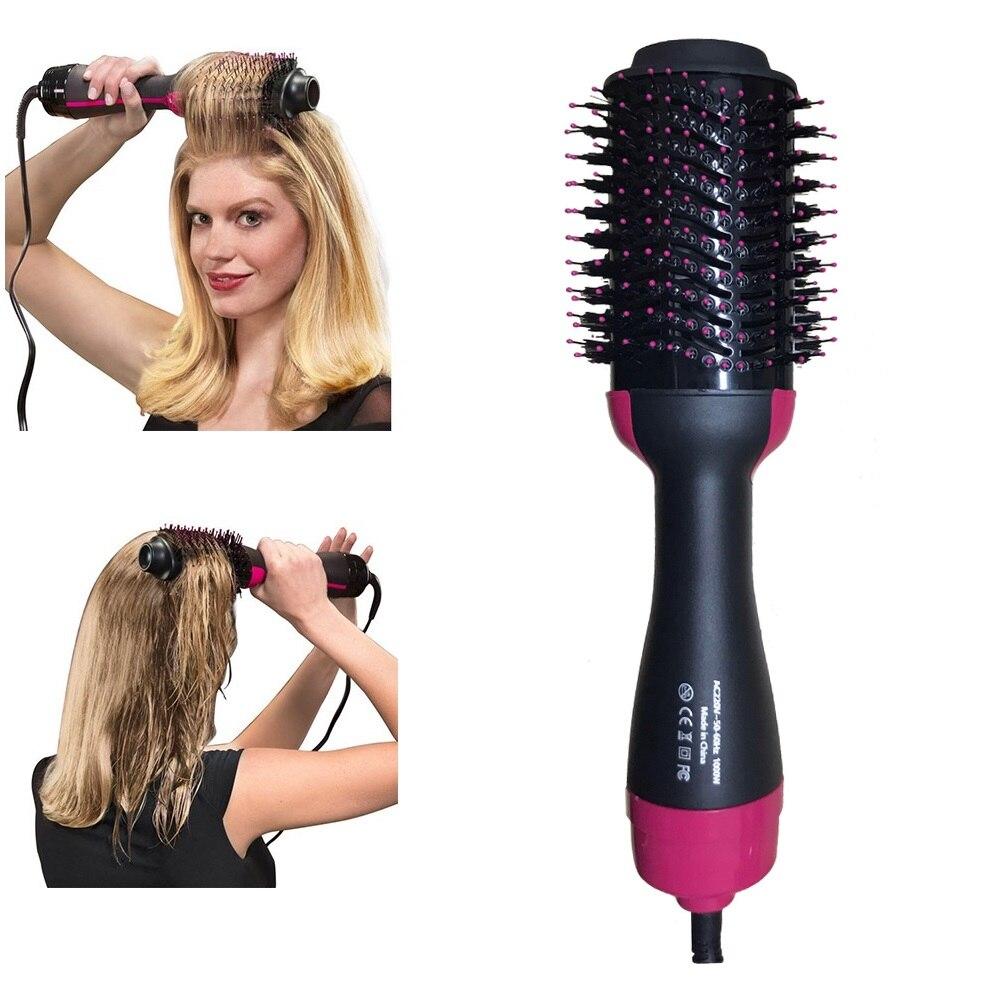 מקצועי 2 ב 1 שיער מייבש אוויר חם מברשת 4 הילוכים שיער מחליק מסרק מסתלסל מברשת רולר חשמלי יון מכה מייבש כלי
