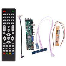 V56 V59 LCD Placa Motorista TV Interruptor de Chave + IR + 1 DVB T2 + 7 Inversor Da Lâmpada + Kit LVDS 3663