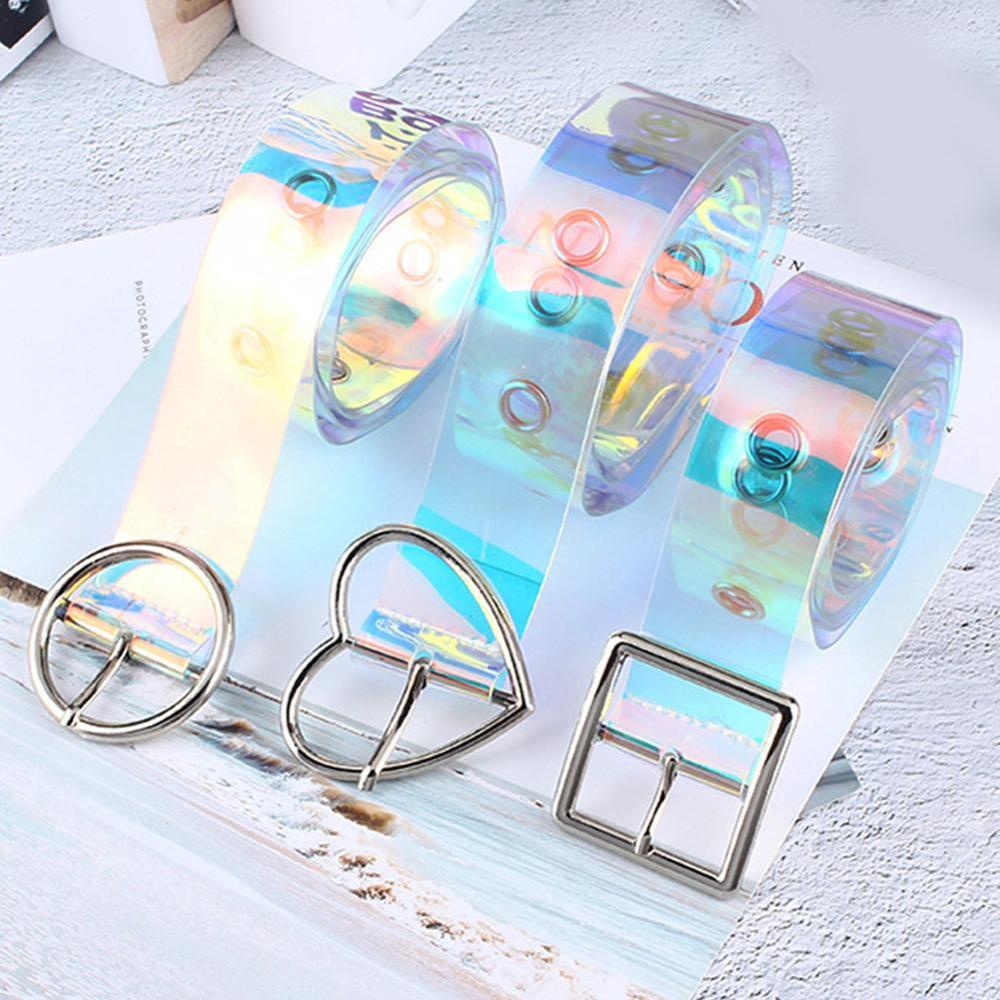 New Laser Resin PVC Lady Belt Holographic Transparent Belt Metal Pin Buckle Lady Transparent Belt Belt Belt 105cm
