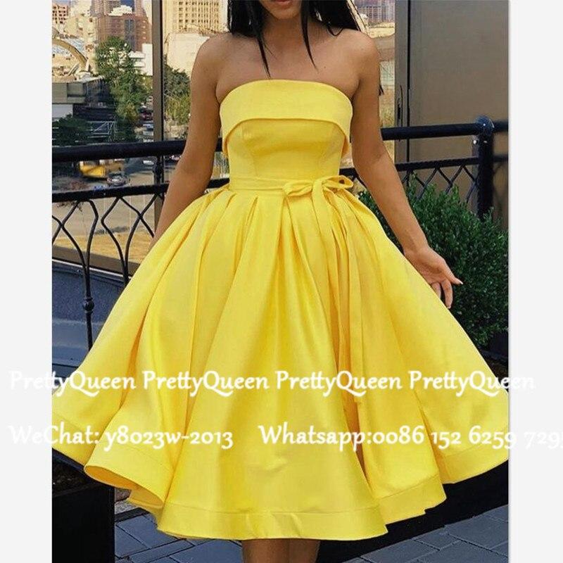 Yellow Satin Short Bridesmaid Dresses With Sash 2020 A Line Strapless Party Wedding Guest Dress Robe Demoiselle D'honneur