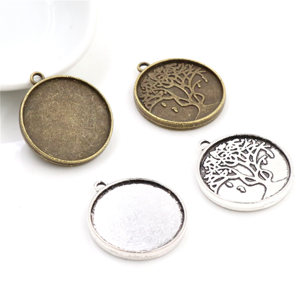 10pcs 20mm Inner Size Antique Silver Plated And Bronze Tree Style Cabochon Base Setting Charms Pendant