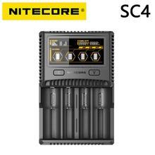 NITECORE SC4 chargeur Intelligent plus rapide avec 4 emplacements 6A sortie totale Compatible IMR 18650 14450 16340 pile AA