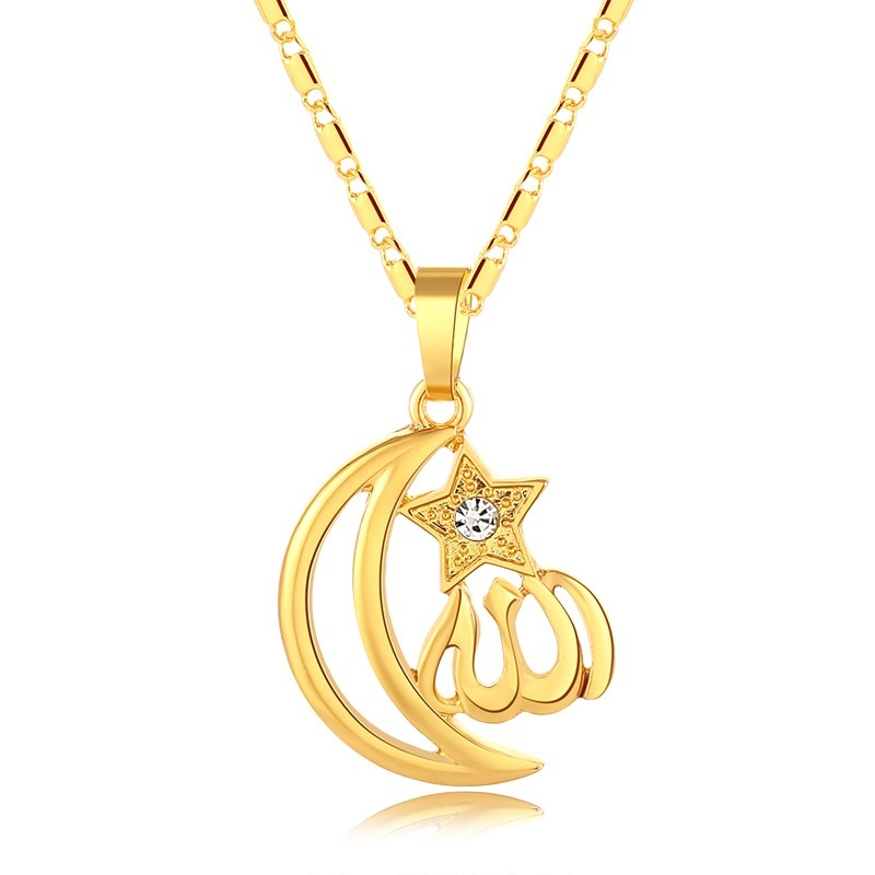 Moon and Stars Muslim Pendant Necklace Islam Totem Allah Rhinestone Crystal Necklace Men and Women Jewelry