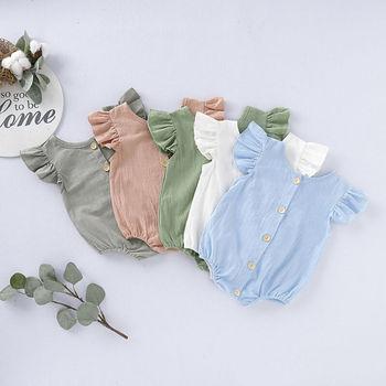 Pudcoco odzież dla niemowląt niemowlęta czyste falbany pościel romper mucha z krótkim rękawem niemowlęta ropa bebe strój zestaw pojedyncze piersi o-neck tanie i dobre opinie COTTON Poliester Moda Stałe Unisex