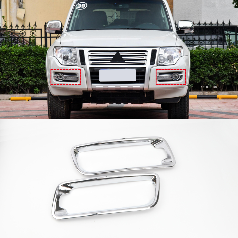 Car Styling Accessories Trims For Mitsubishi Pajero Montero Limited Shogun V80 2015-2019 ABS Front Fog Light Lamp Cover Trim