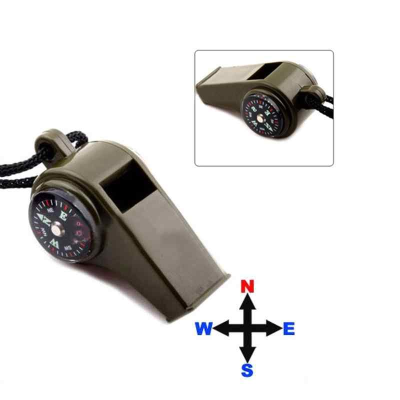 3 in 1 Outdoor Camping Whistle เครื่องวัดอุณหภูมิเข็มทิศฉุกเฉิน Survival Gear