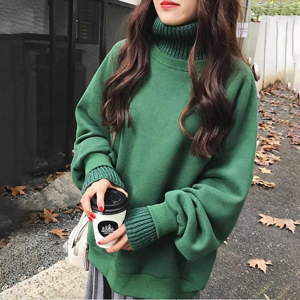 Womail Vrouwen Sweatshirt Herfst Warme Coltrui Lange Mouw Dames Sweatshirts Dikkere Valse Tweedelige Korea Jas Streetwear P0