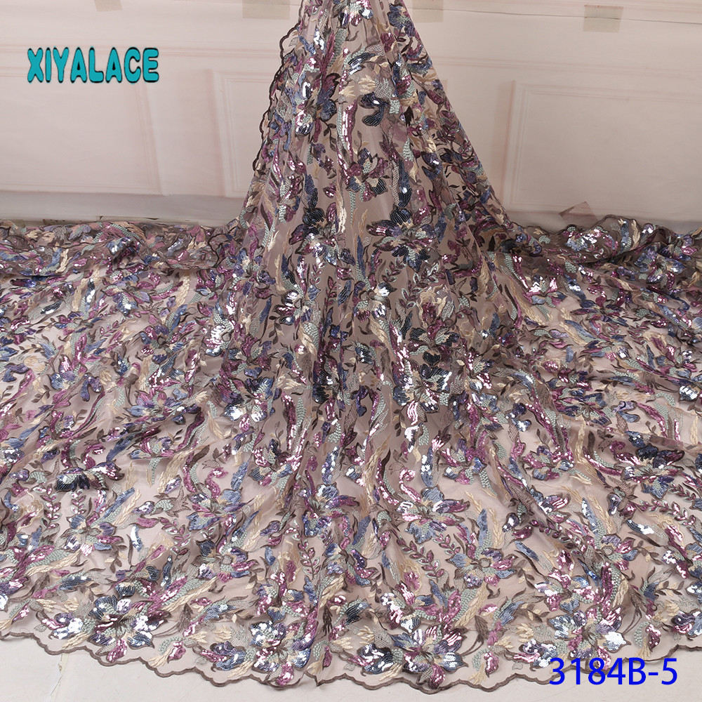 African Lace Fabric Sequins Lace 2019 High Quality Lace Fabric Nigerian Lace Fabrics French Bridal Lace For Dress YA3184B-5