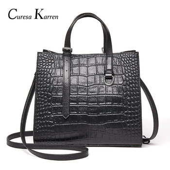 Genuine Leather Women Bags Mom Fashion Crossbody Bags Elegant crocodile pattern Female Travel Handbags Shoulder Messenger bags