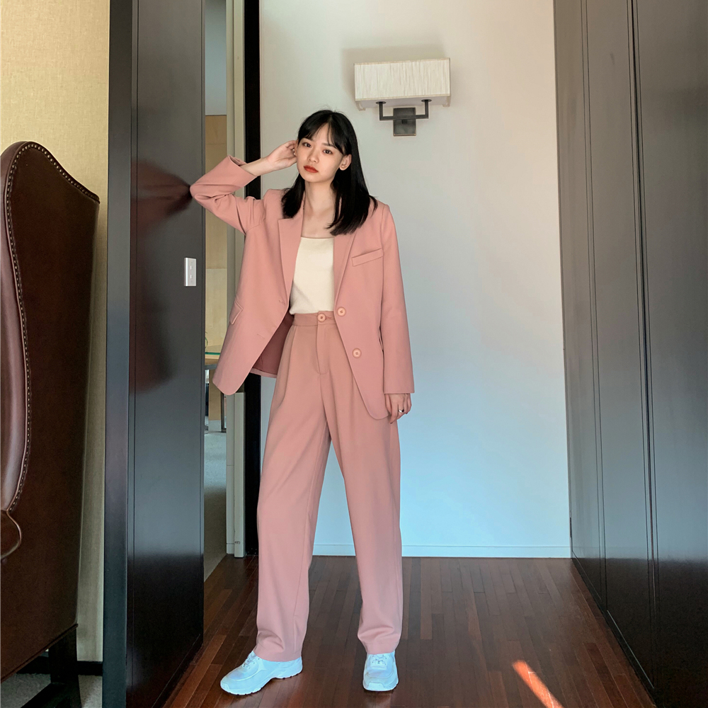 Fashion Women Pant Suit Notched Blazer Jacket & High Waist Pant Female Blazer Set 2020 Office Wear Women Suits