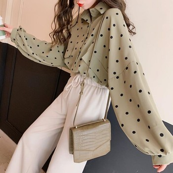 Blouse Korean Style Loose Casual Polka Dot Pattern Shirt Fashion Sweet Long Sleeve Women's Shirt sweet long sleeves cartoon print blouse polka dot skirt twinset for women