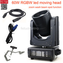 LED Beam Cuci Moving Head 60W RGBW 4 In1 LED Spot Moving Head Stage Light Lampu(China)