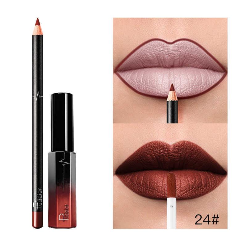 Pudaier cosmétiques 2PC velours mat rouge à lèvres longue durée imperméable mat lèvres Liner ensemble beauté nouveauté rouge à lèvres pigmenté