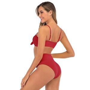 Image 4 - 2020 Sexy Bikini strój kąpielowy kobiety wysokiej talii stroje kąpielowe stałe stroje kąpielowe Push Up Bikini zestaw dwuczęściowy strój kąpielowy kobiet Biquini