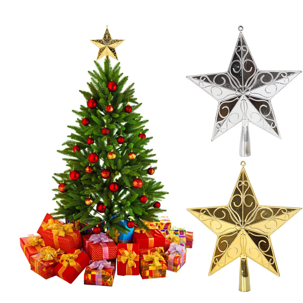 Tree Top Decor Star PVC Golden/Silver Xmas Prop Ornament Holiday Christmas Beautiful 3D Party Festival Gadget