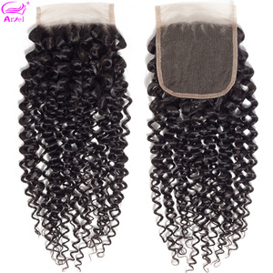 Ariel Kinky Curly Closure Human Hair Closure 4x4 Closure 22 20 Inch Transparent Lace Closure Remy Brazilian Closure Middle Part(China)