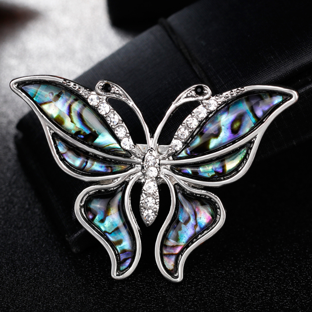 Vintage Rhinestone Shell Brooch Collar Animal Corsage Jewelry Accessories for Girl(As Shown)-1