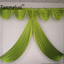 3M width Custom color Ice Silk drape swag decoration for event party eedding backdrop curtain stage background