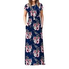 Grande taille robe bohème femmes manches courtes été robes Floral imprimé décontracté Style bohème longue robe Maxi longueur de plancher 2021