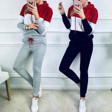 Two-piece set autumn winter women mosaic hooded sports leisure sweater trousers suit running fitness two-piece suit separate