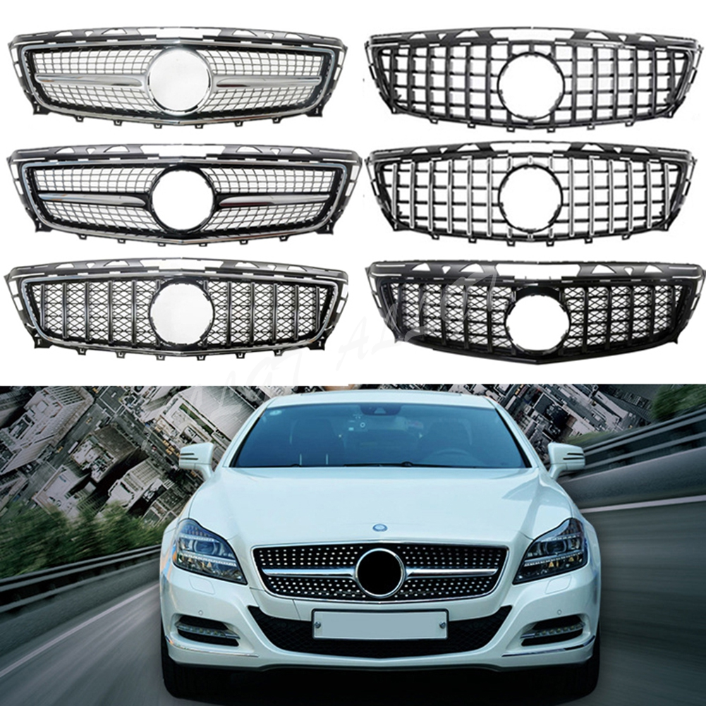 Front Racing Billet Bumper Grille Upper <font><b>Grill</b></font> Cover For Mercedes-Benz <font><b>W218</b></font> CLS-Class 2011 2012 2013 2014 Diamond GTR image